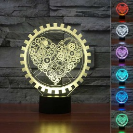Lampe 3D LED Cœur Steampunk