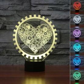 Lampe 3D LED Cœur Steampunk