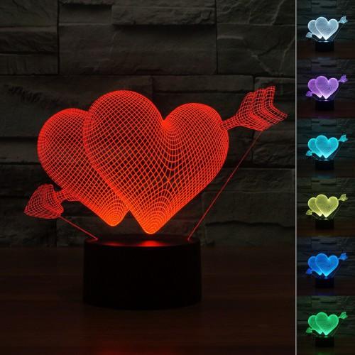 Lampe 3D LED Duo de Coeurs