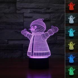 Lampe 3D LED Bonhomme de Neige
