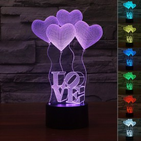 Lampe 3D LED Coeur Love