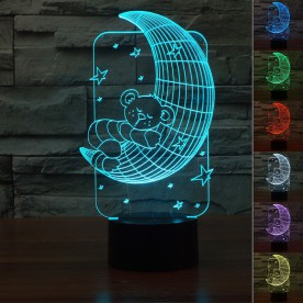 Lampe 3D LED Ourson Lune