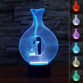 Lampe 3D LED Vase Oiseau