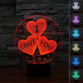 Lampe 3D LED Trio de Coeurs