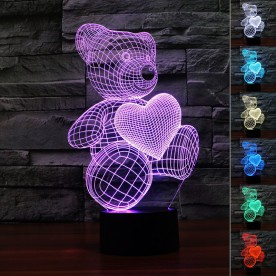 Lampe 3D LED Ourson Coeur
