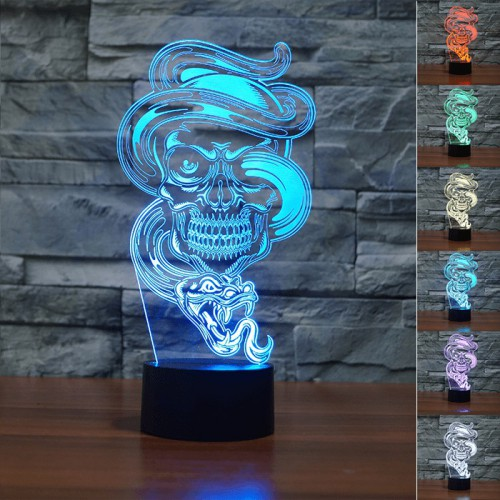 Lampe 3D LED Tête de Mort Serpent