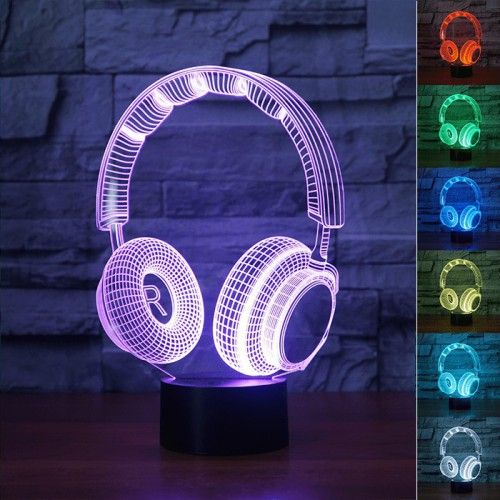Lampe 3D LED Casque Audio