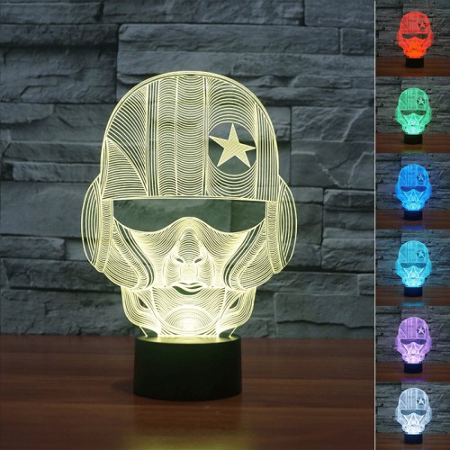 Lampe 3D LED Casque de Pilote
