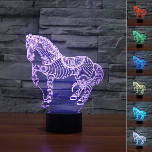 Lampe 3D LED Cheval